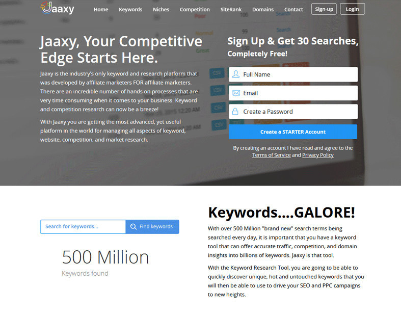 Review Jaaxy Homepage