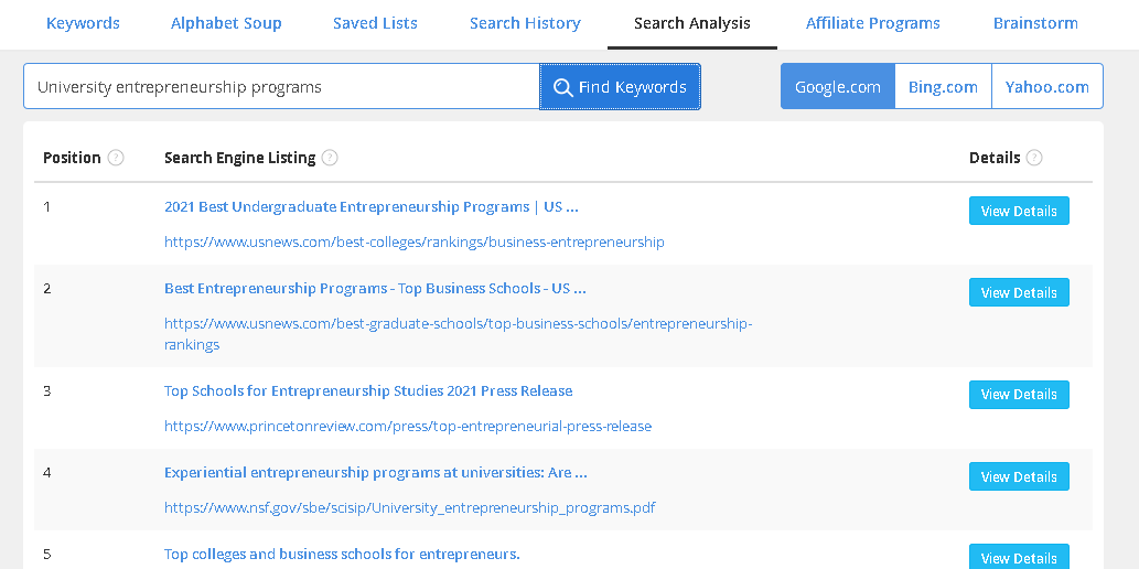 Search Analysis Jaaxy Tab
